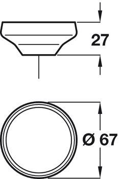 Furniture knob, Wood, Unfinished/Lacquered, Ø 40-67 mm, Cadogan