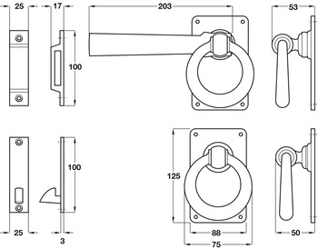Gate Latch, Ring, Malleable Iron, Kirkpatrick