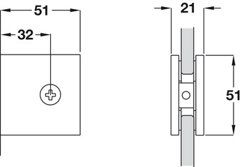 Glass Connector, Wall to Glass Connector, for 90° Applications