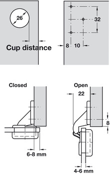 Glass Door Hinge, 92°, Sprung