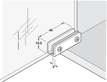 Glass Door Hinge, Opening Angle 110°, Simplex