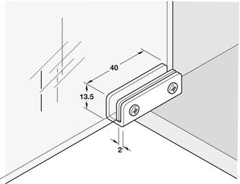 Glass Door Hinge, Opening Angle 110°, Simplex