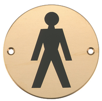 Graphic Sign, Ø 76 mm, 2 mm Thick, Stainless Steel, Brass or Aluminium