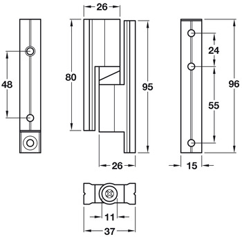 Hinge Set, Normal Duty, Cubicle Fittings