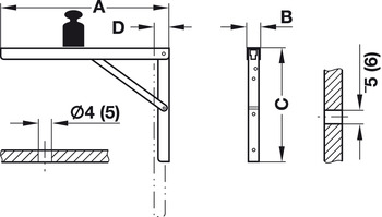 Hinged Bracket, Adjustable in 3 Positions