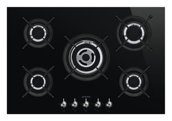 Hob, Gas on Glass Ceramic with Five Burners, 750 mm, Smeg Classic