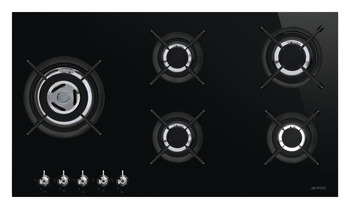 Hob, Gas on Glass Ceramic with Five Burners, 900 mm, Smeg Classic