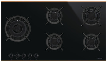 Hob, Gas on Glass Ceramic with Five Burners, 900 mm, Smeg Dolce Stil Novo