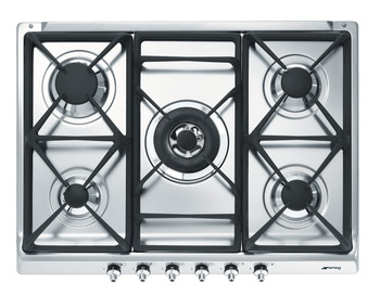 Hob, Gas, with Cast Iron Pan Stands, 690 mm, Smeg Classic
