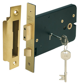 Horizontal 5 Lever Sash Lock, Mortice, 57 mm Backset, Stainless Steel or Brass