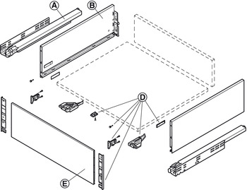 Internal Drawer Front Accessories Set, for 185 mm Drawer Sides, Grass Vionaro