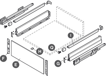 Internal Drawer Panel Set, for 90 mm Drawer Sides with Rectangular Rails, Nova Pro Scala