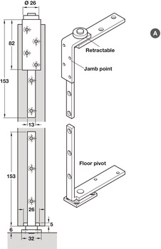 Jamb and Pivot Set, for Folding Interior Partition Doors, Foldaside Endfold