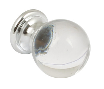 Knob, Glass with Zinc Alloy Base, Ø 25-30 mm, Primrose