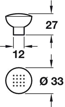 Knob, Zinc Alloy, Ø 28-33 mm, Dimple