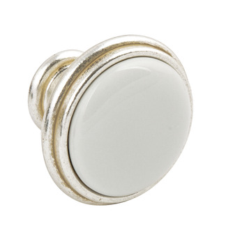 Knob, Zinc Alloy and Porcelain, Ø 35 mm, Clara