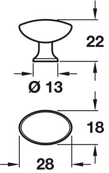 Knob, Zinc Alloy, Width 28 mm, Height 18 mm, Pearl