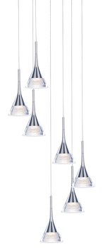 LED Ceiling Pendant, Adjustable, Rated IP20, 7 Light, Jewel