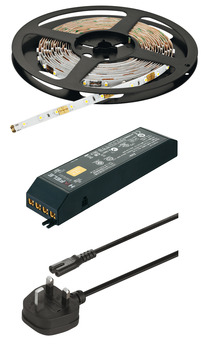 LED Flexible Strip Light 12 V, Rated IP20, Loox LED 2043 Set, with 5000 mm Strip, Driver, Mains Lead and Connecting Lead