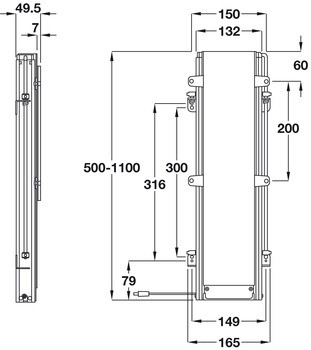 LED TV Lift, 3 Section Telescopic Lift, TS 600 B