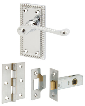 Lever Handle Set, on Short Backplates, with Hinges and Latch, Georgian, Scroll