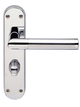 Lever Handles, Mitred, on Backplates for Bathroom Lock, Brass
