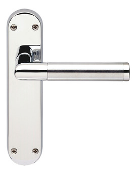 Lever Handles, Mitred, on Backplates for Latch, Brass