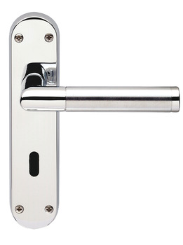 Lever Handles, Mitred, on Backplates for Lever Lock, Standard Keyway, Brass