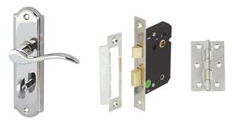Lever Handles, on Backplates, Bathroom Pack, Zinc Alloy, Sywell