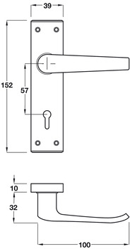Lever Handles, on Backplates for Bathroom Lock, Aluminium