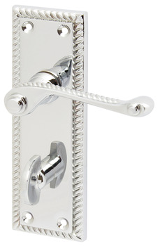 Lever Handles, on Backplates for Bathroom Lock, Georgian, Scroll