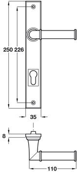 Lever Handles, on Backplates for Door Entry, Profile Cylinder, Solid Pewter, Lamont