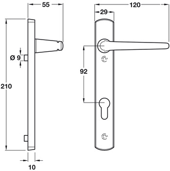 Lever Handles, on Backplates for Euro Profile Cylinder Lock, to Suit Multipoint Locks, Zinc Alloy