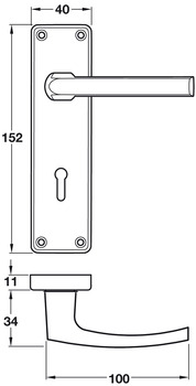 Lever Handles, on Backplates for Lever Lock, Contract