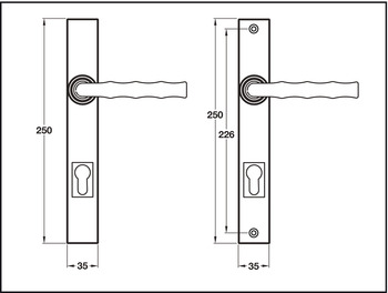 Lever Handles, on Backplates for Multi-Point Locking System, Solid Pewter, Takara