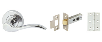 Lever Handles, on Round Roses, Latch Pack, Zinc Alloy, Sywell