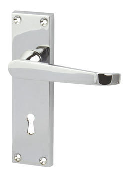 Lever Handles, Plain Victorian, on Backplates for Lever Lock, Zinc Alloy