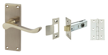 Lever Handles, Scroll, Latch Pack, Zinc alloy, Satin Nickel