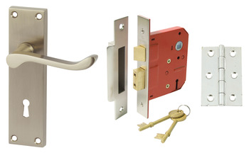 Lever Handles, Scroll, Lock Pack, Zinc alloy, Satin Nickel