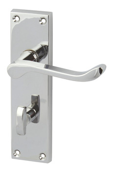 Lever Handles, Scroll, on Backplates for Bathroom Lock, Zinc Alloy