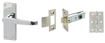 Lever Handles, Straight, Latch Pack, Zinc alloy, Polished Chrome