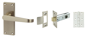 Lever Handles, Straight, Latch Pack, Zinc alloy, Satin nickel