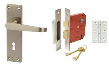 Lever Handles, Straight, Lock Pack, Zinc alloy, Satin Nickel