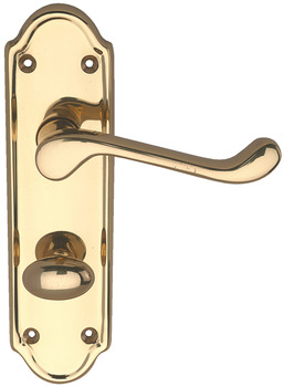 Lever Handles, Traditional, on Backplates for Bathroom Lock, Brass