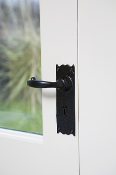 Lever Handles, Traditional, on Backplates for Lever Lock, Standard Keyway, Malleable Iron, Kirkpatrick