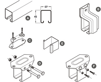 Lock-Joint Type Soffit Bracket, for Folding Internal Partition Doors, Foldaside 240 Endfold