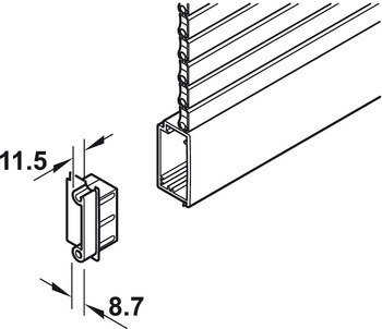 Lock Strip Guide, for Tambour Doors, Plastic