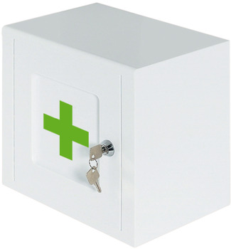 Lockable Medicine Cabinet, White with Green Cross Logo, Ninka