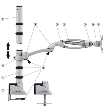 Long Arm, with Height Adjustment, for Monitor Arm, Ellipta
