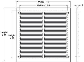 Louvered Air Transfer Grille, for use with Intumescent Fire Grille or on their own, Mild Steel